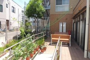 メディカルホームここち東岩槻 夏はスイカやメロン。秋はブロッコリーやなすなど多くの家庭菜園を育てています。車椅子の方も自由に出られるお庭です。