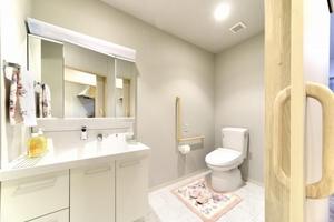 リレ石川橋 全室ウォシュレット、三面鏡付きの洗面台が完備。手すりと緊急通報ボタンが設置されており、安全面にも配慮されています。