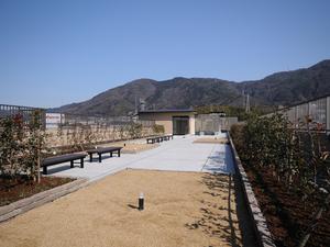 チャーム京都山科 屋上には庭園があり、外出が困難な方にも外の空気にふれていただけ、菜園コーナーでは季節の野菜の収穫などもお楽しみいただけます。